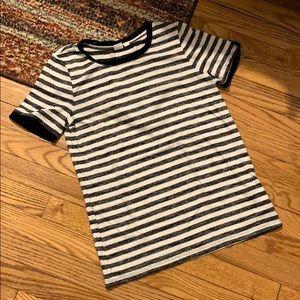 GAP Black & White Stripe Tshirt with Velvet Detail